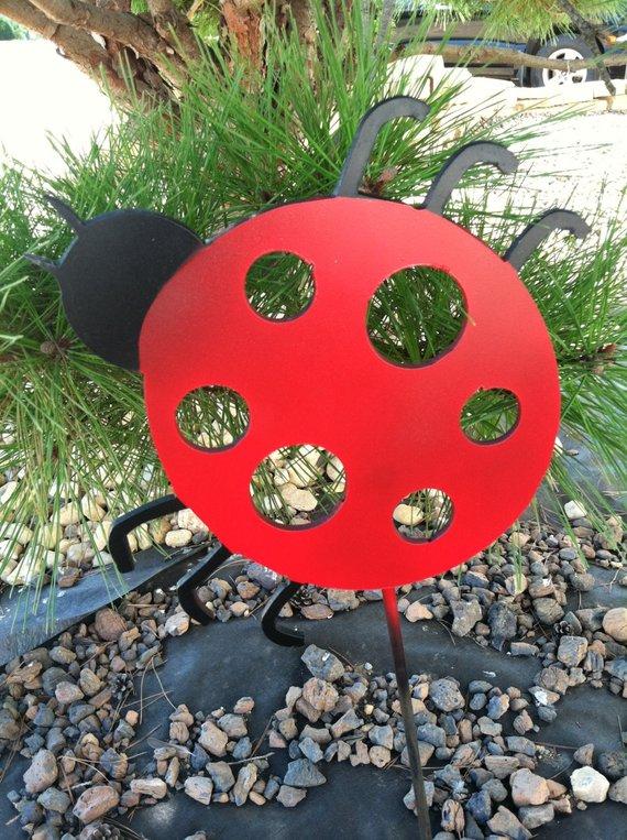 Metal Lady Bug Stake Yard Decoration Garden Decor Outside