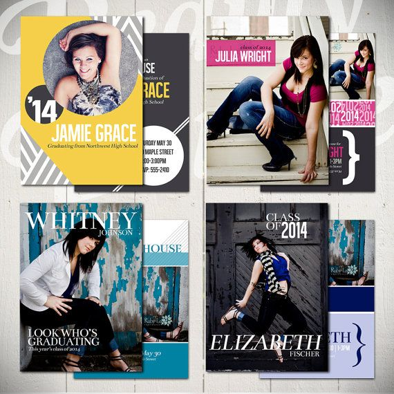 Graduation Card Templates Hit The Runway  Set Of Four X Senior