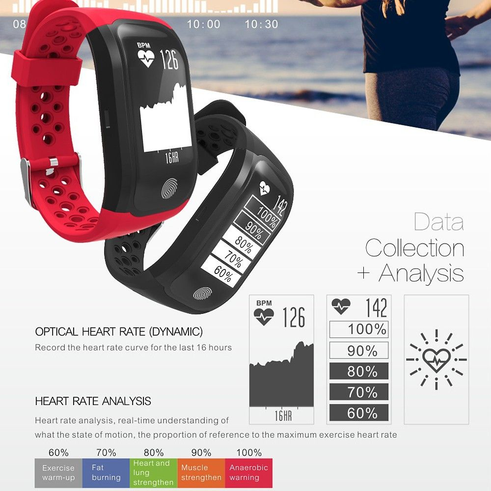 S908 GPS IP68 Waterproof Fitness Tracker Smart Band Watch Heart-rate BT Sport Wristband Calls Notification Activity Tracking Sleep Monitor for iPhone 8 Plus Samsung S8+ iOS8 Android4.3 or above Sales Online Array - Tomtop