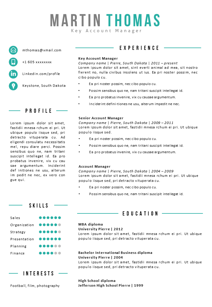 Resume Template Rushmore | Resume examples, Good resume ...