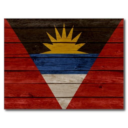 Antigua Barbuda Old Wood Postcard Postcards Flags Caribbean