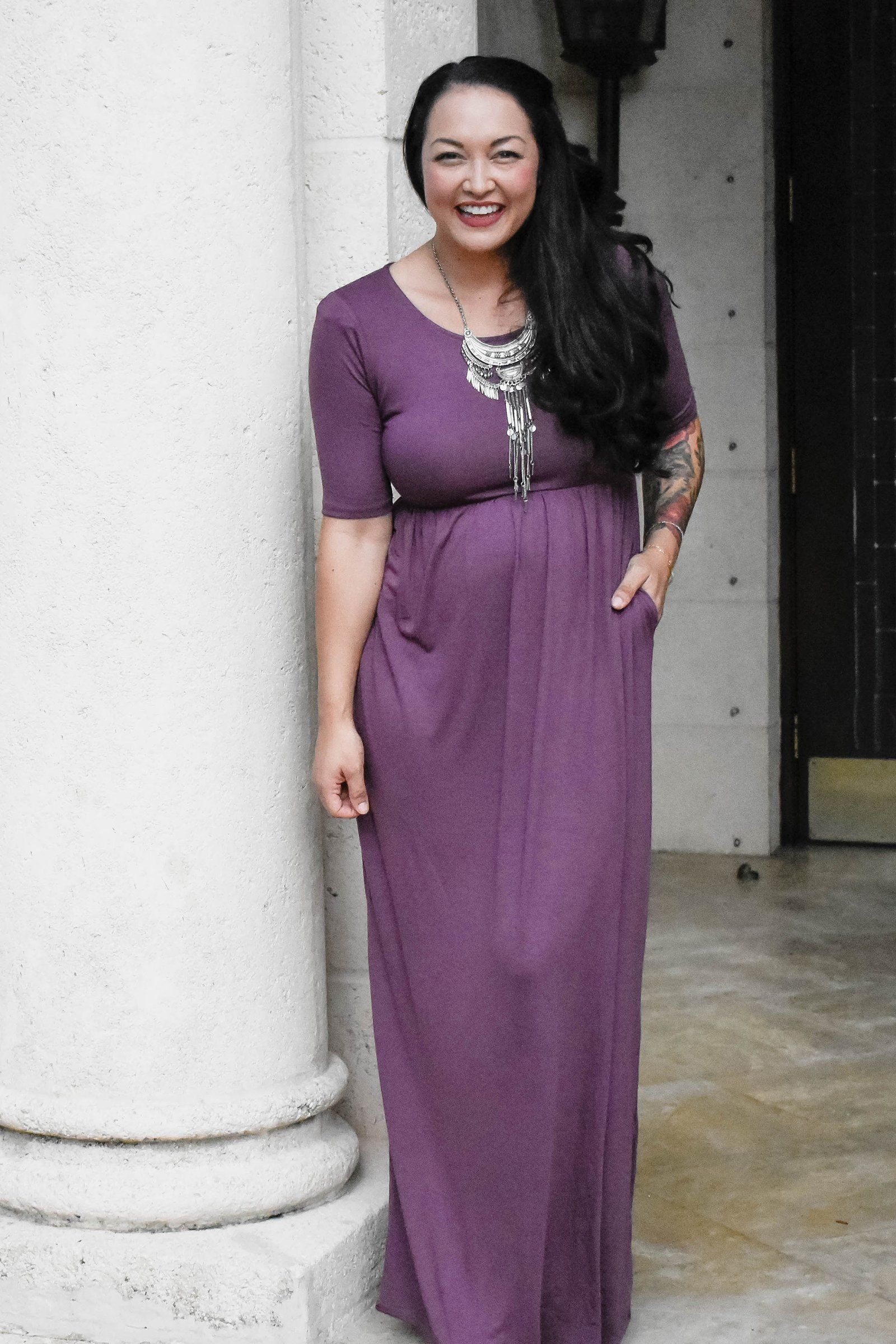 7731f74c71 Our 3 4 Sleeve maxi dress in eggplant is absolutely gorgeous paired with  our bohemian statement necklace!! This dress is ultimately comfortable with  ...