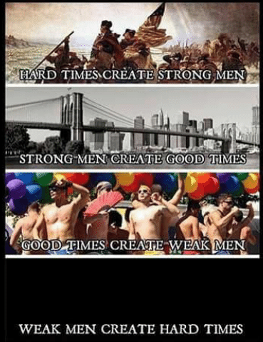 Hard Times Create Strong Men Strong Men Create Good Times Good Times Create Weak Men And Week Men Create Hard Times Weak Men Inspirational Words Hard Men