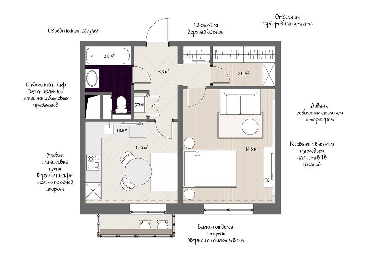 7a83e7926e155 Современный дизайн однокомнатной квартиры 38 кв. м. в доме серии КОПЭ