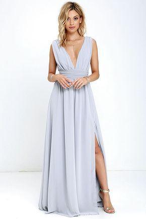 Heavenly Hues Light Grey Maxi Dress Rochii Rochii