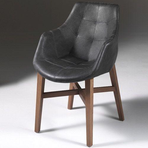 Fauteuil en bois avec assise en simili cuir Zeus