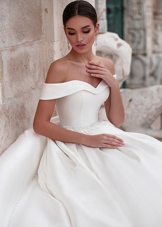 Photo of [199.00] Junoesque Satin Off-the-shoulder Neckline Ball Gown Wedding Dresses Wit…