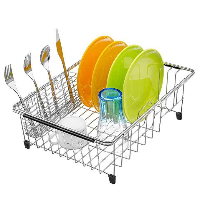 Monokit Expandable Sink Dish Drying Rack Kitchen Dish Drainer Rack