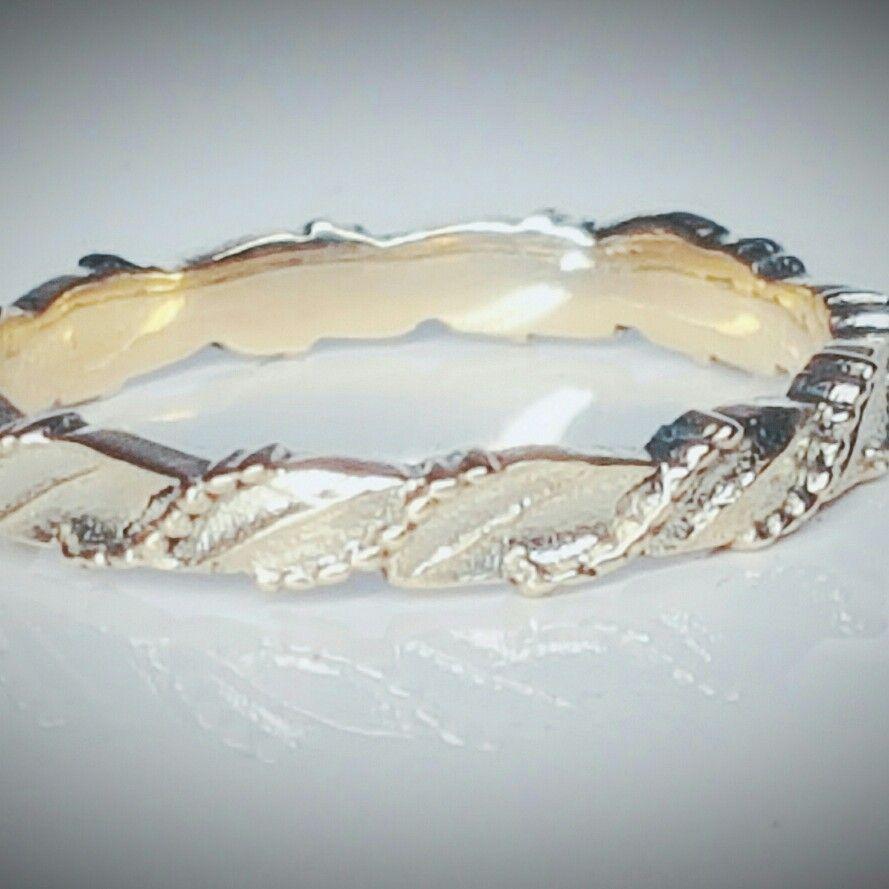 Gold leaf wedding stacking ring