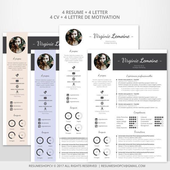 4 Cv Curriculum Vitae Professionnel Moderne Et Graphique Etsy Professional Resume Resume Curriculum Vitae