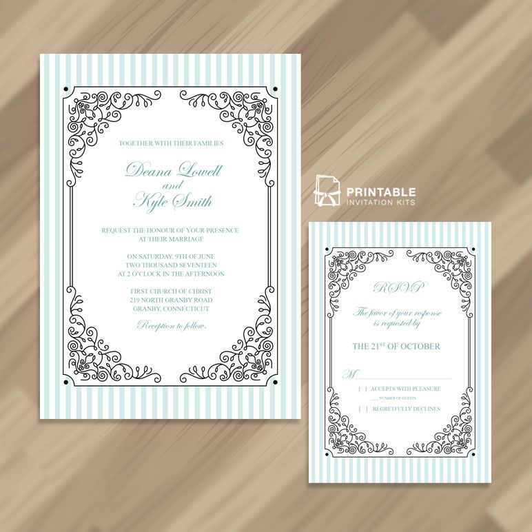 Free Printable PDF - Stripes and Fancy Frame Wedding Invitation and