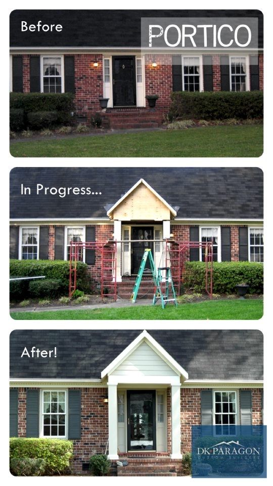 Adding a portico is a beautiful way to add classic curb for How to add curb appeal to a ranch style house