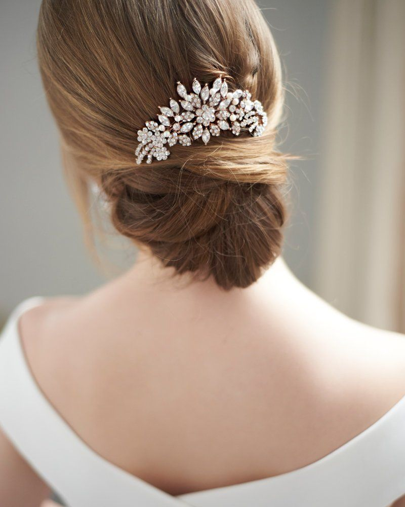 Wedding Hair Comb Gold Wedding Headpiece Silver Pearl Bridal Hairpiece Rose Gold Bridal Comb Pearl Crystal Hair Comb