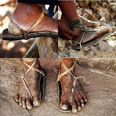 Tarahumara shoes, or huaraches, are thin leather sandals with a ...