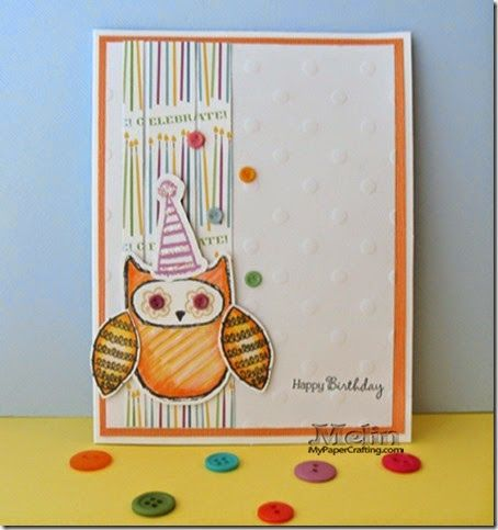 Card using Stamp of The Month, SOTM, August What A Hoot Stamp Set, Touch Twin Markers, confetti wishes, details: http://www.mypapercrafting.com/2014/08/CAS-Owl-CTMH-Aug-SOTM-Card.html