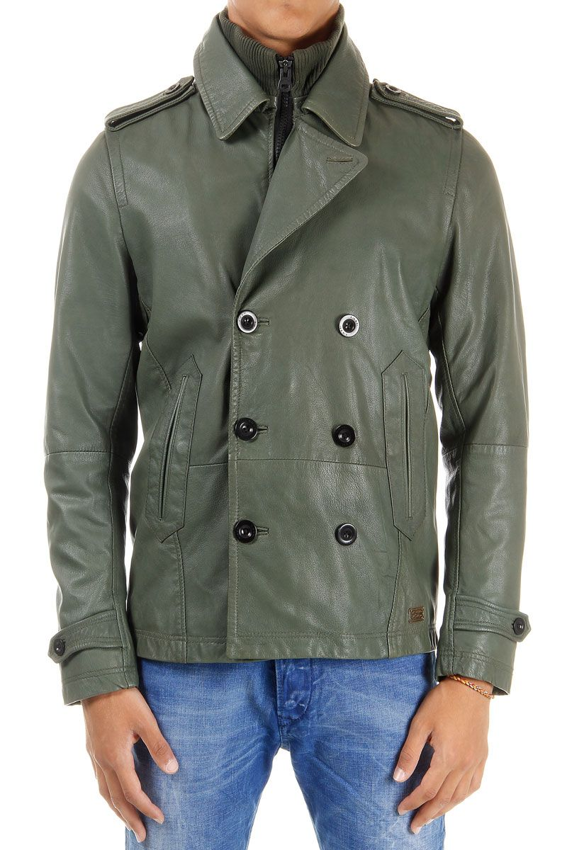 Diesel Men Double Breasted Leather Jacket Cotton Lining Spence Outlet [ 1200 x 800 Pixel ]