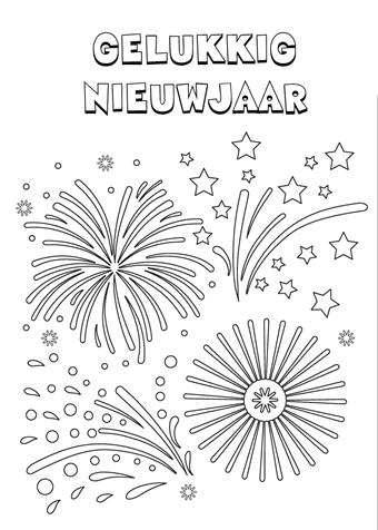 kleurplaat gelukkig nieuwjaar new year schatkist anker