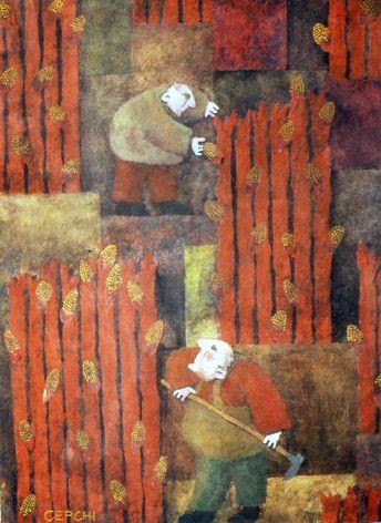 "Galleria scorrevole.                                           Sergio Cerchi, italian painter (Firenze), ""Corn Field"", gouache."