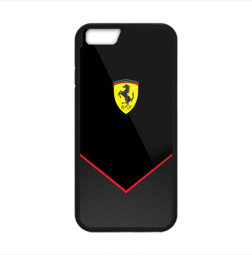ferrari black carbon cover case print on for iphone 6/6s, 6s plus