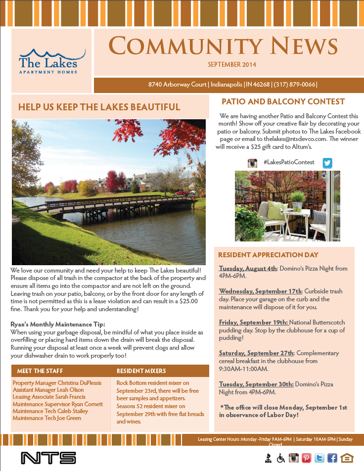 September Newsletter Resident Events Ideas Apartments Apartment Marketing Open House Real Estate