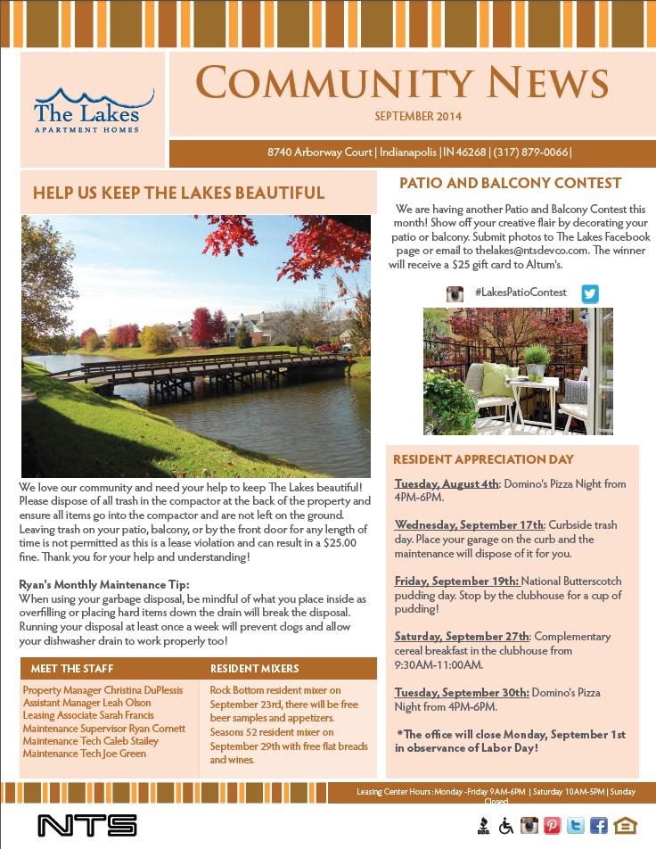 September Newsletter! Apartment management, Resident
