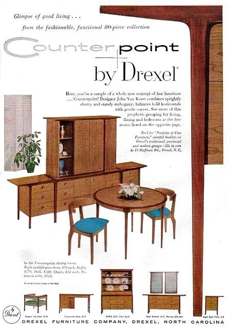 Drexel 1956 Counterpoint John Van Koert Mid Century Art Decor