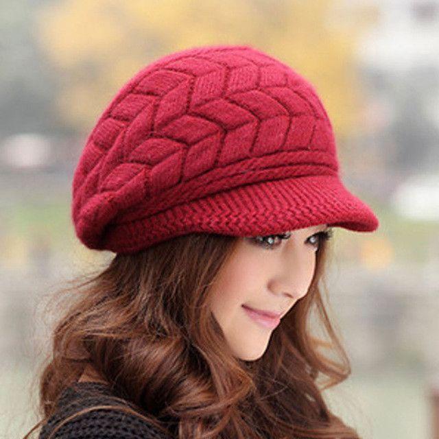 Newest Hot Sale Elegant Women s Knitted Hats Rabbit Fur Cap Autumn Winter  Ladies Female Fashion Skullies Warm Hat Wholesale b361a1a5d55