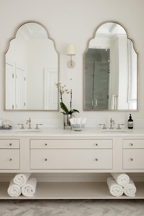 Silver Arch Mirrors With Ivory Double Washstand Transitional Bathroom Bathroom Mirror Design Bathroom Countertops Silver Bathroom