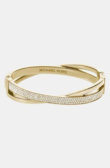 482e17e615f8 Michael Michael Kors Brilliance Criss Cross Hinged Bracelet in Pink (Rose  Gold  Gold Quartz