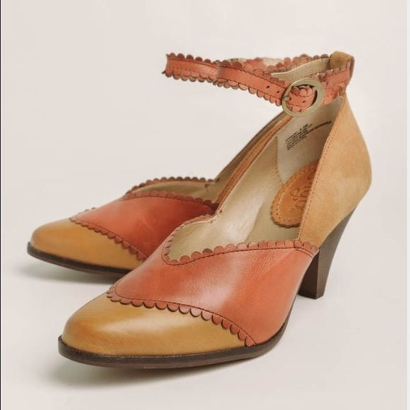 Latigo Harmony pumps leather/suede ankle strap 8 Oak colorway--leather everywhere except the back camel colored heel is suede. Super cute and fun. Padded footbed so also pretty comfortable. Worn a few times--see soles. Otherwise great condition. latigo Shoes Heels
