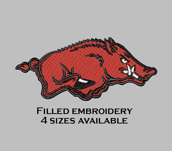 Embroidery file razorback filled Arkansas embroidery by 5ndown