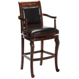 Astonishing Douglass Cherry Carved Accents Black Leather Stool Brown Machost Co Dining Chair Design Ideas Machostcouk