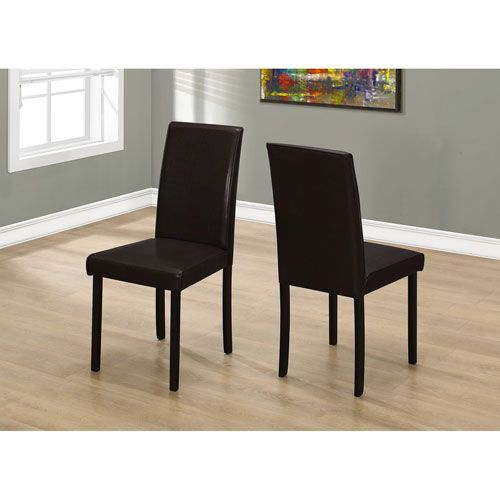 Dining Chair - 2 Piece / 36H Dark Brown Leather-Look