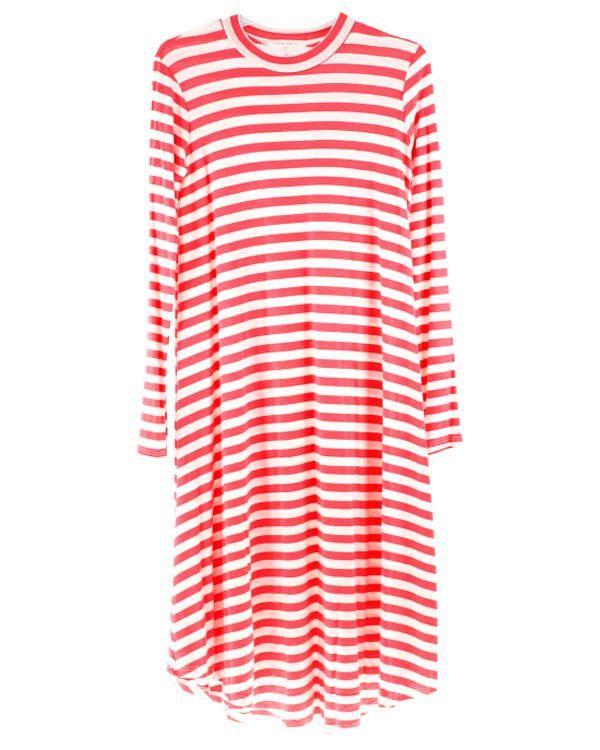 Amy Long Sleeve Striped Swing Dress