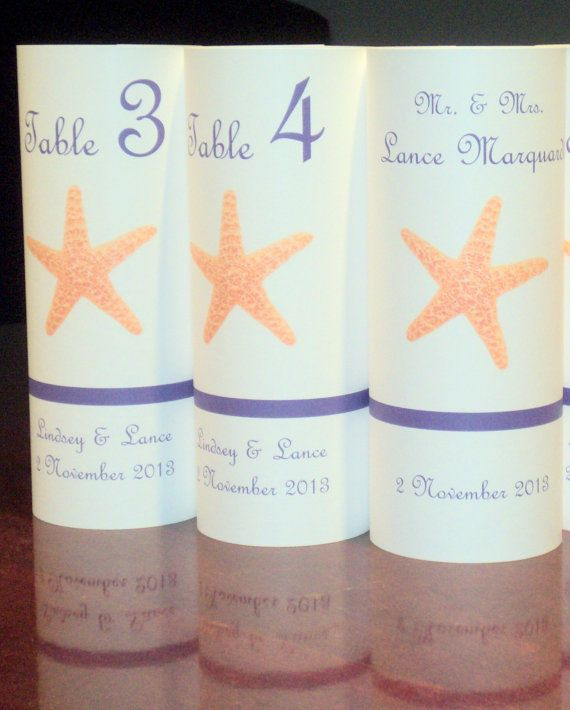 Elegant Table Number LUMINARY Towers  Starfish Beach by evelynne99, $2.25