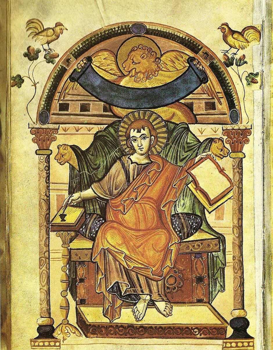 St Mark The Evangelist (John Mark) and his lion from the Ada manuscript Gospel Book of the Court school of Charlemagne, c. 810; in the Stadtbibliothek, Trier, Germany
