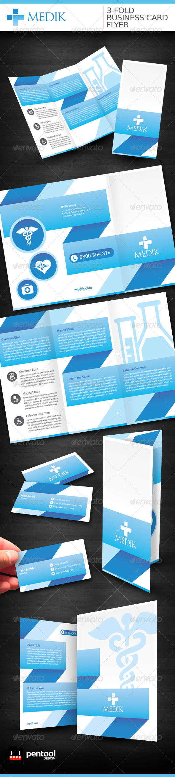 Medik 3 foldbusiness cardflyer folded business cards icon font flyer reheart Gallery
