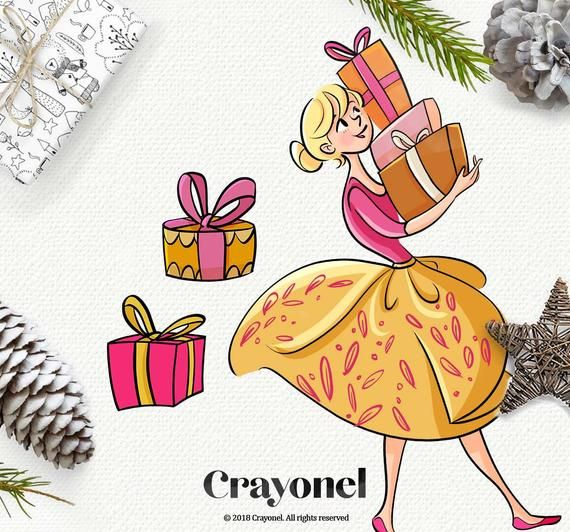 Fabulous Christmas Clip Art Planner Girl Stickers Tree ...