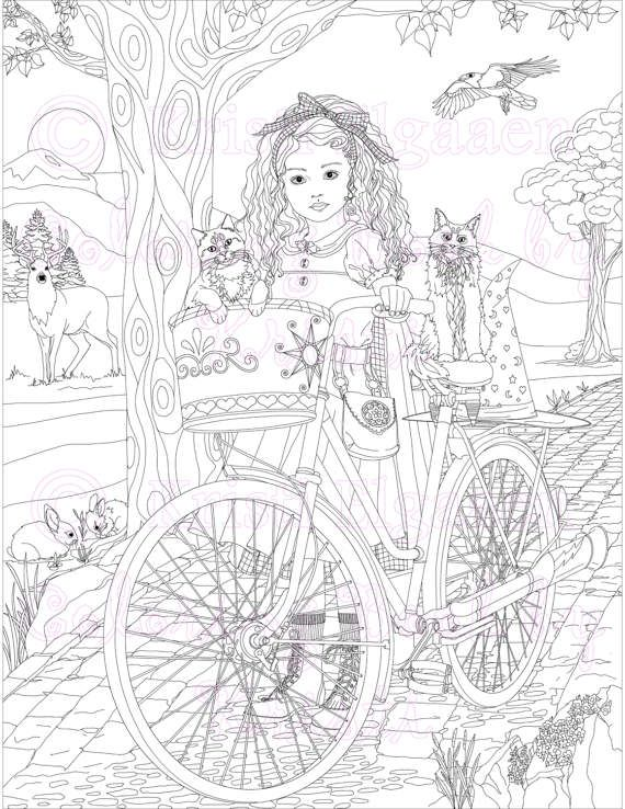Aria Rides A Bicycle Instead Of Broom She Waits On The Path With Her Crow Named Jax And Two Cats Orion Sage Instant Download Watermark