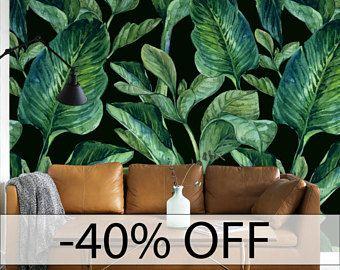 GROENE Bladeren Patroon Tijdelijke Behang, Groene Bladeren Behang, Grote  Bladeren Muur Muurschildering