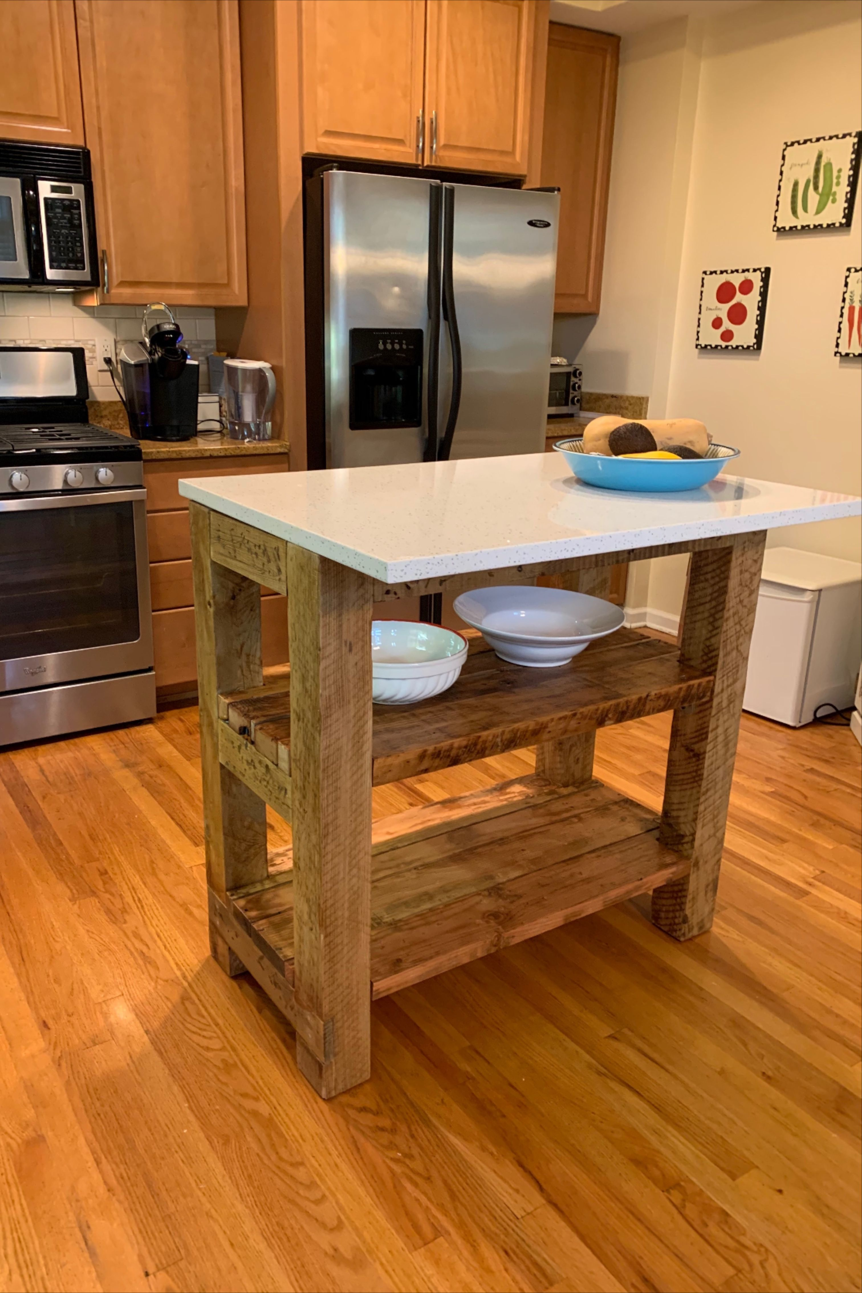 New Farm Table For Beach House In Nj The Lumber Comes From A 100 Year Old Home Transformed Into A New Farm Table Kitche In 2020 Farm Table Quartz Countertops Kitchen