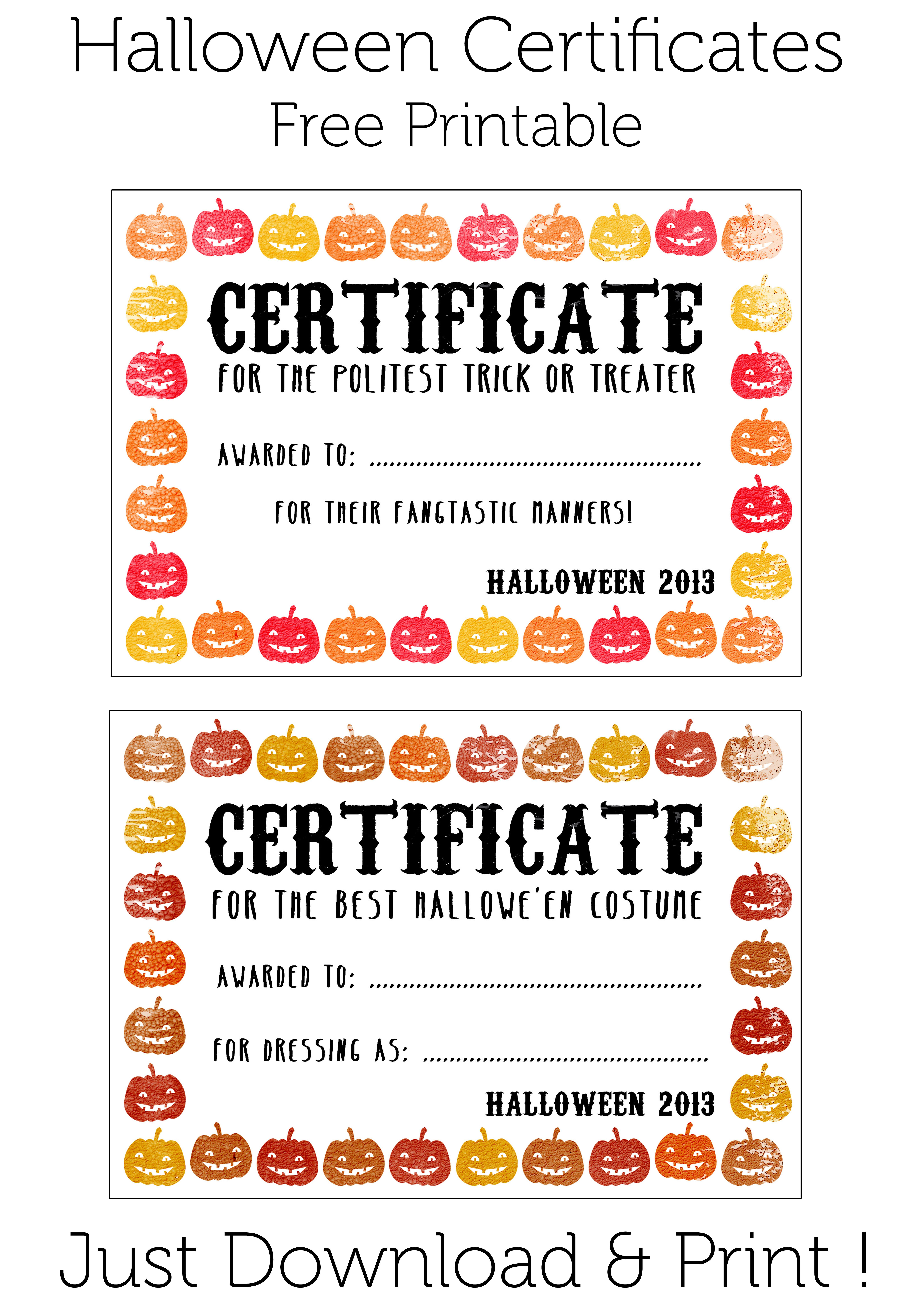 Free Printable Halloween Certificates Frameimage