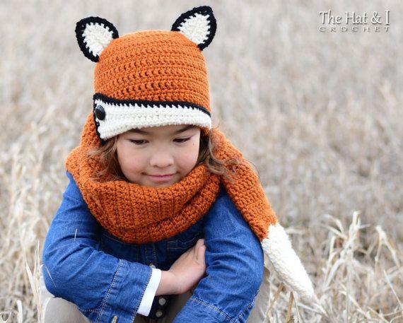 CROCHET PATTERN - Fox Fancy Hat & Cowl - crochet fox hat pattern ...