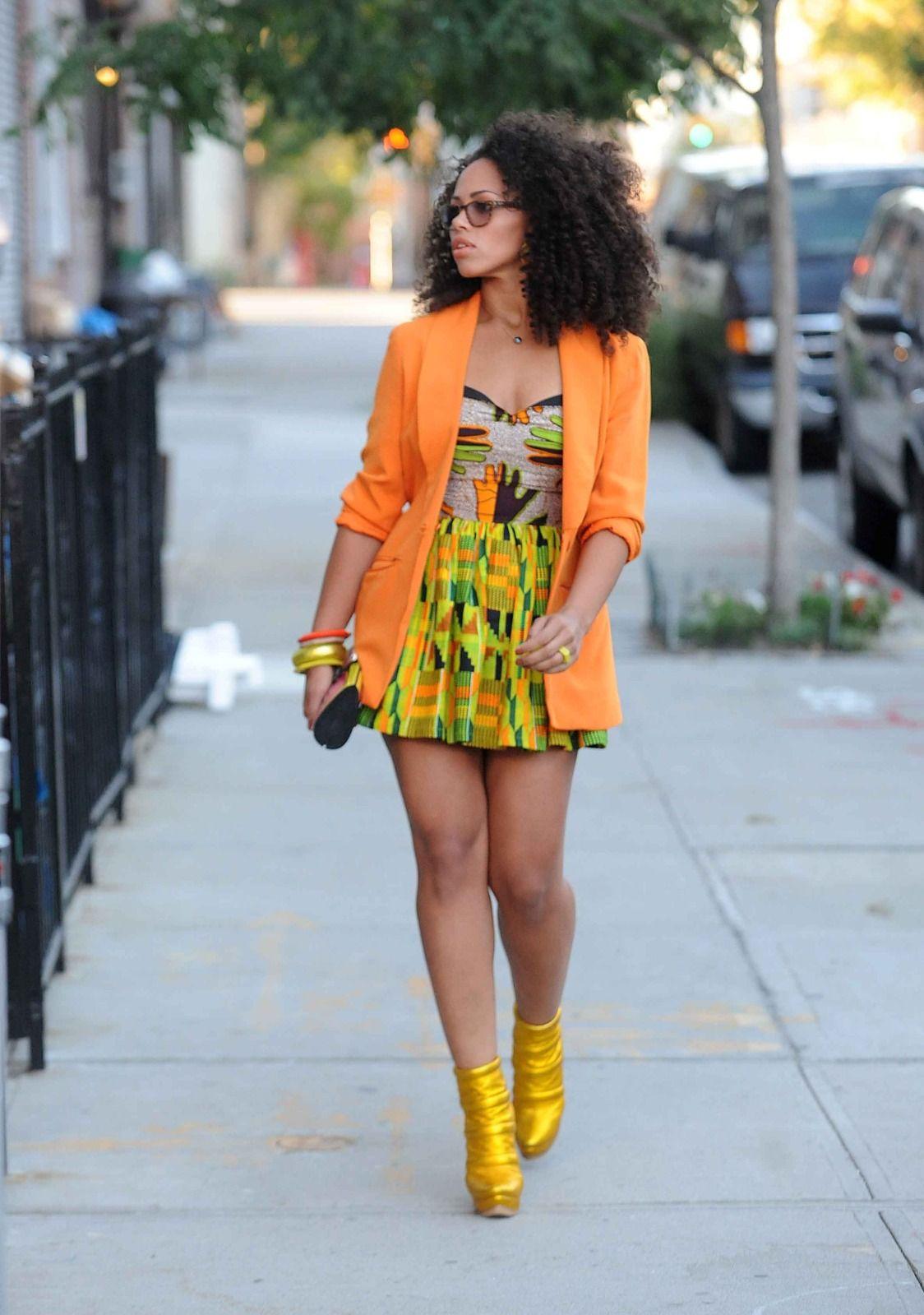 african print wedding dresses Elle Varner in African attire dress with bright orange blazer hair
