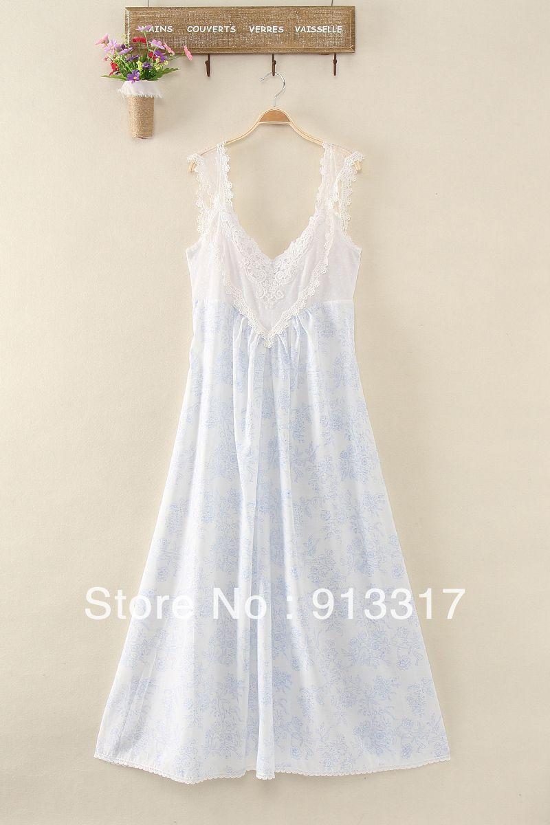 Vintage Women\'s Summer Sleepwear Loose V-neck Sleeveless Lace ...
