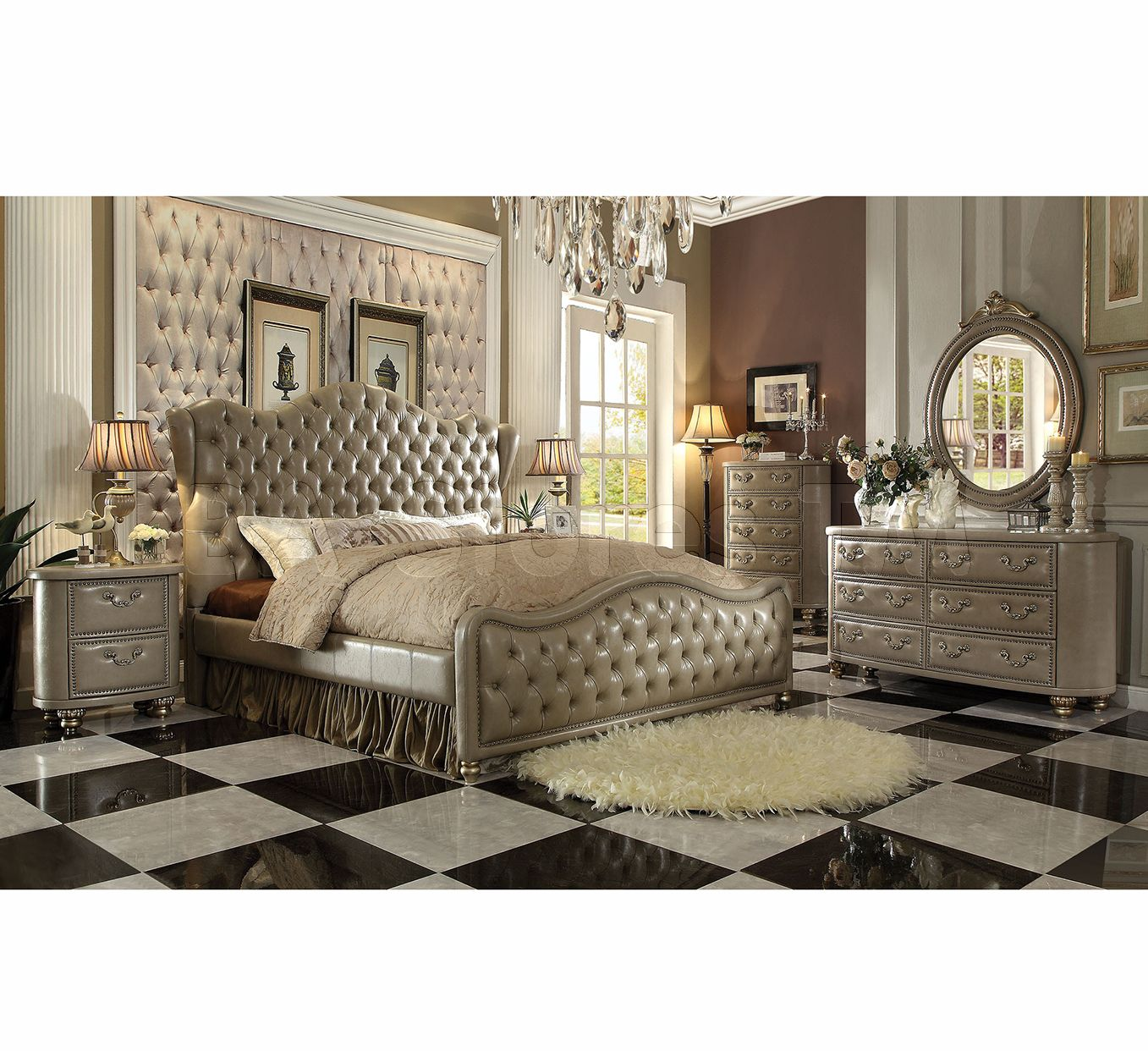 Varada Bedroom Set In Champagne Gold By Acme Furniture Bedroom  # Muebles Ponderosa
