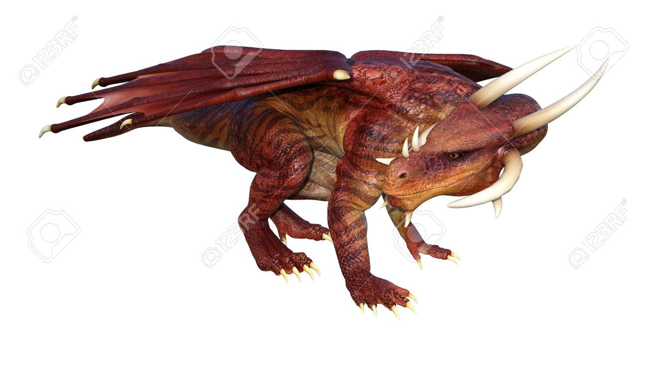3D rendering of a fairy tale dragon isolated on white background Stock Photo