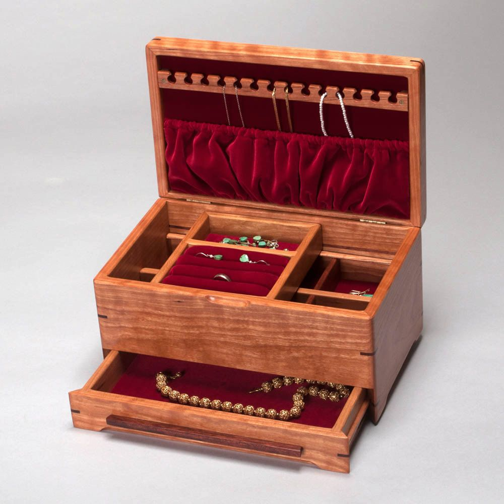 Jewelry Box for Ladies Wood Jewelry Box with Ring Holder Necklace
