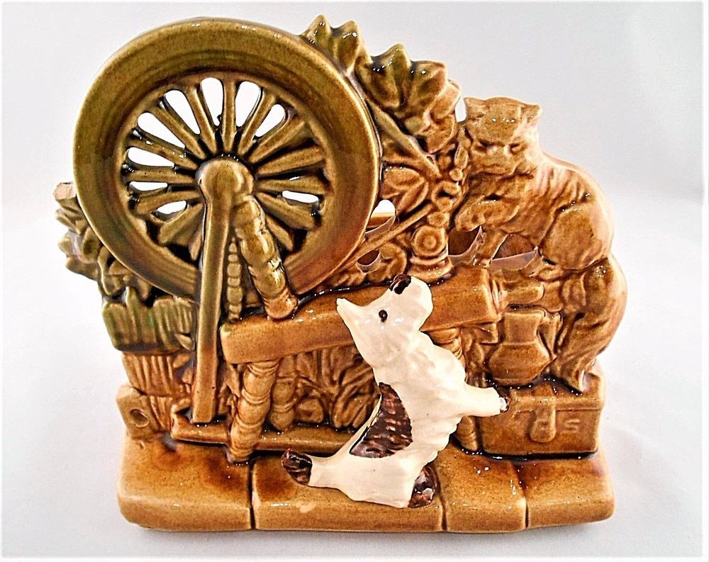 Details about mccoy high gloss spinning wheel w cat and white dog