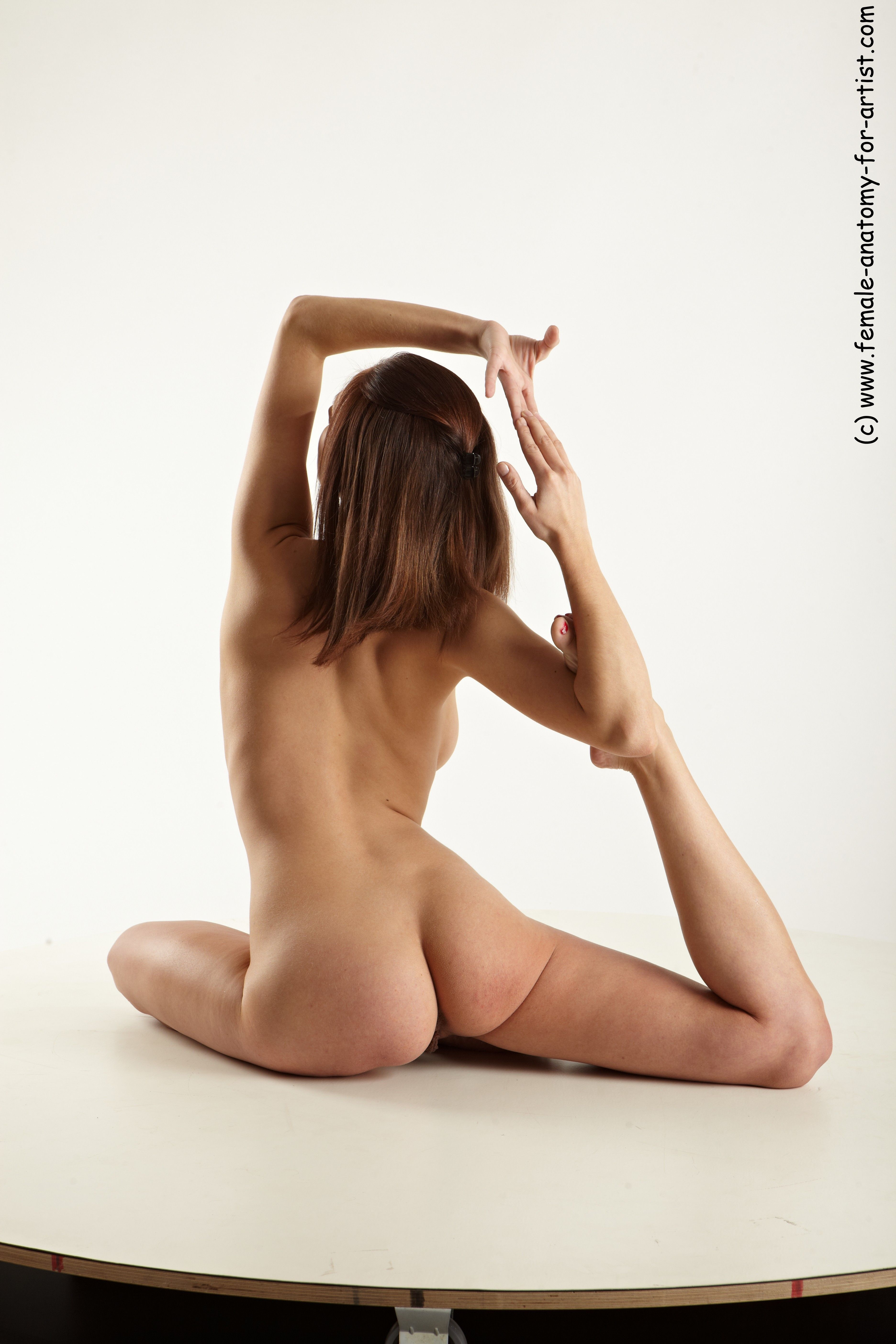 PHOTO OF NUDE GYMNASTIC POSES WOMAN WHITE SLIM LONG BROWN